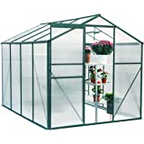 U-MAX Greenhouse Polycarbonate Outdoor Garden Greenhouse Walk-in Portable 8'(L) x6'(W) x6.6'(H) Adjustable Roof Hot…