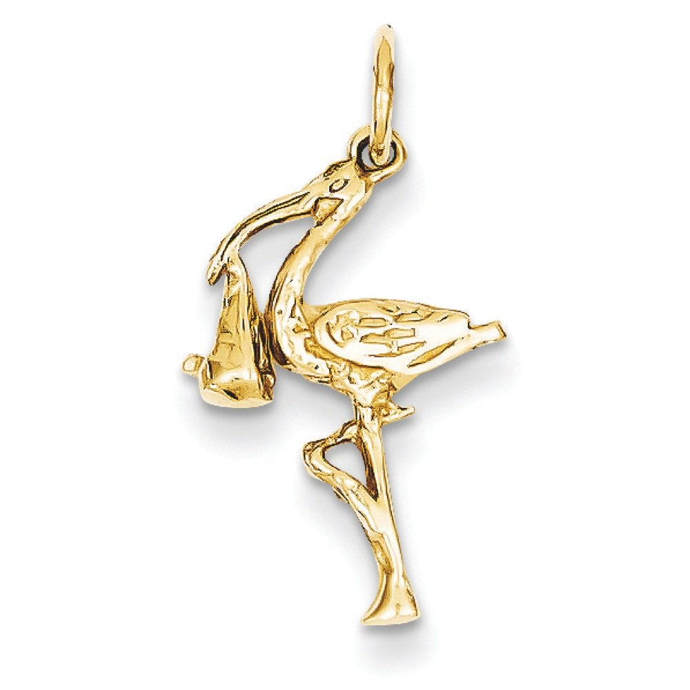 Pendants Children and Baby Charms 14K Yellow Gold Solid 3D Stork Charm Pendant