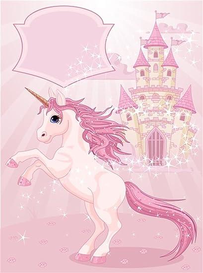 YongFoto 1,5x2,2m Fondo de Fotografia Unicornio Cuento Hadas Castillo Centelleo Estrellas Bokeh Dulce Telón de Fondo Cumpleaños Fiesta Baby Shower ...