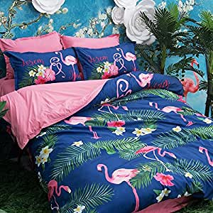 SINSHIN Flamingo Print Polyester Duvet Cover Set Comforter Bedding Sets 3 Pieces(1 Duvet Cover+2 Pillowcases) with Flamingo Pattern,Best Christmas Halloween Birthday for Boys Girls Full