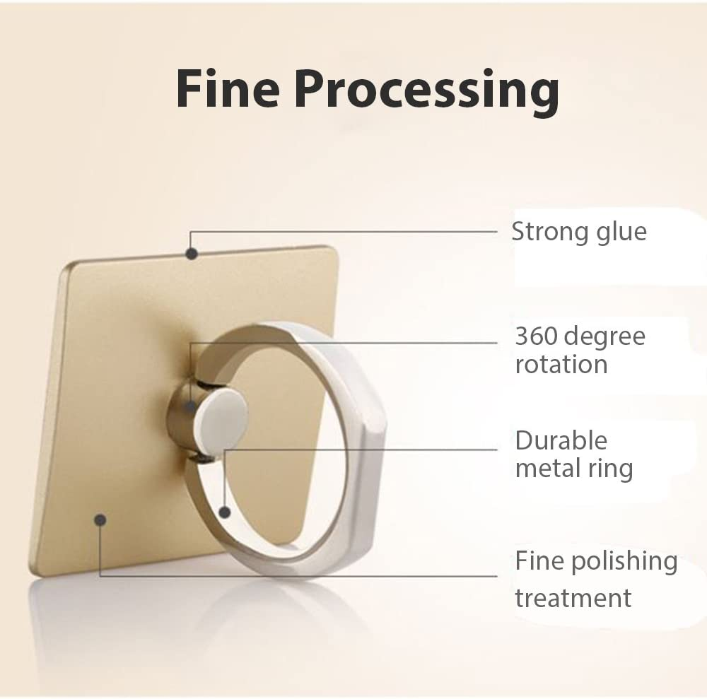 Gold, Square Acyan Phone Ring Holder 360/°Rotation Universal Cellphone Finger Ring Stand Kickstand Grip for iPhone Smartphone and Tablets