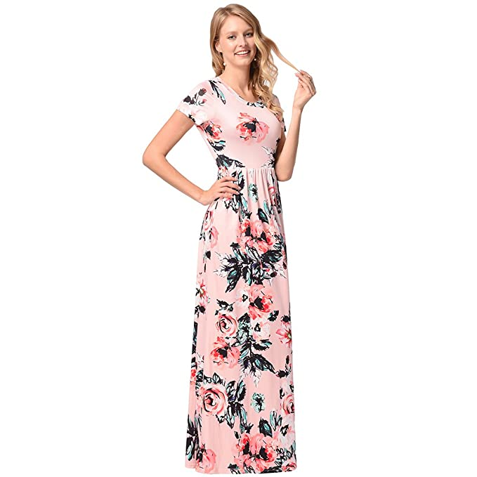 b0f5655e48ef5 Women's Summer Maxi Dress Vintage Floral Print Short Sleeve with Pockets,  Pink, M