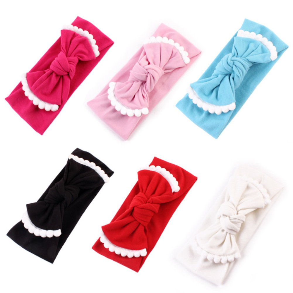 Qandsweet Baby Hairband Girl Elastic Hair Accessories Headbands (8 Pack Solid Bunny Ears) HD4