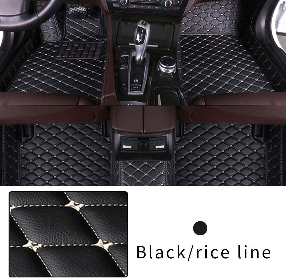 Car Floor Mat Custom Made For 95% of Car Models Full Coverage Interior Protection Waterproof Non-Slip Leather Mat Black With Beige line