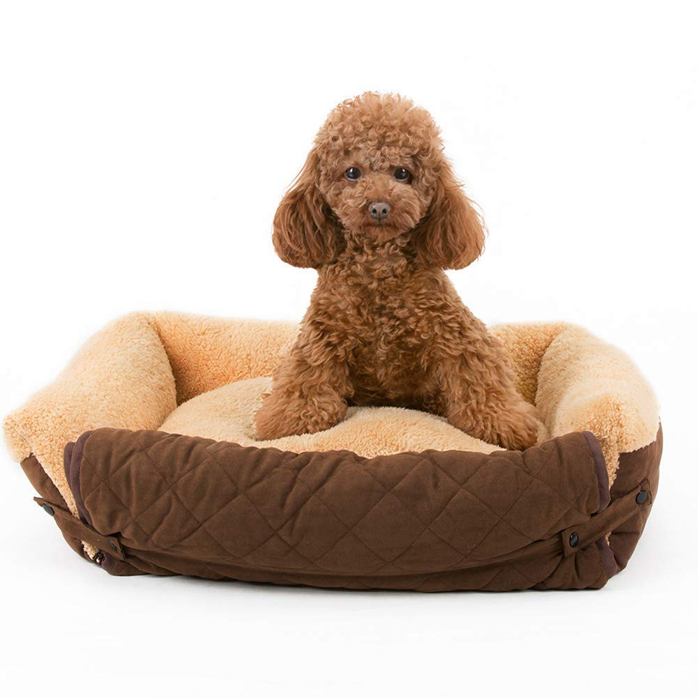Brown 755518cm Brown 755518cm HeiPlaine Pet Sofa Pet bed, Soft Washable Dog Bed Cushion, Fleece Lining Pet sofa (color   Brown, Size   75  55  18cm)