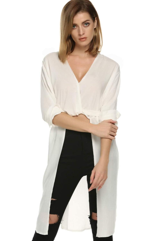 Cravog Damen Strandkleid V-Ausschnitt Bluse Longshirt Partykleid Tops Weiß