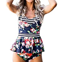 ed77c526716e3 IMIDO Womens V Neck Retro Two Piece Swimsuit Floral Printed Stripe Bathing  Suit Hollow Out Swimwear
