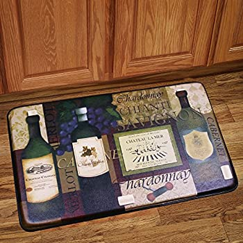 Sweet Home Collection Memory Foam Anti Fatigue Chef Design Kitchen Floor  Mat Rug, Favorite Wine