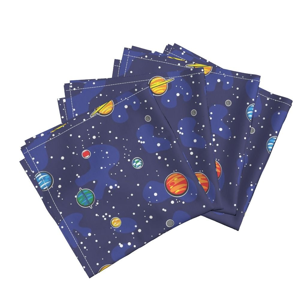 Space Solar System Astronaut Planet Stars Whimsical Organic Sateen Dinner Napkins Our Solar System (Rotated) by Robyriker Set of 4 Dinner Napkins