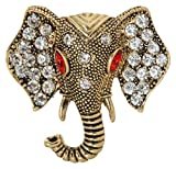 Lucky Elephant Head Brooch Pin 1.5'' with Crystal Accents (Gold Tone)