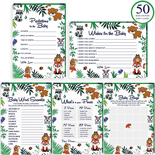 Woodland Baby Shower Games Bundle - 250 Gender Neutral Cards -