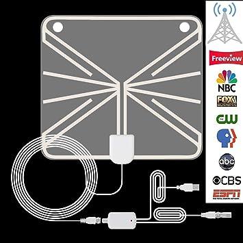 Antena de TV Interior, HDTV Televisión Aérea Amplificador de Señal de TV Digital Ultrafina 1080P