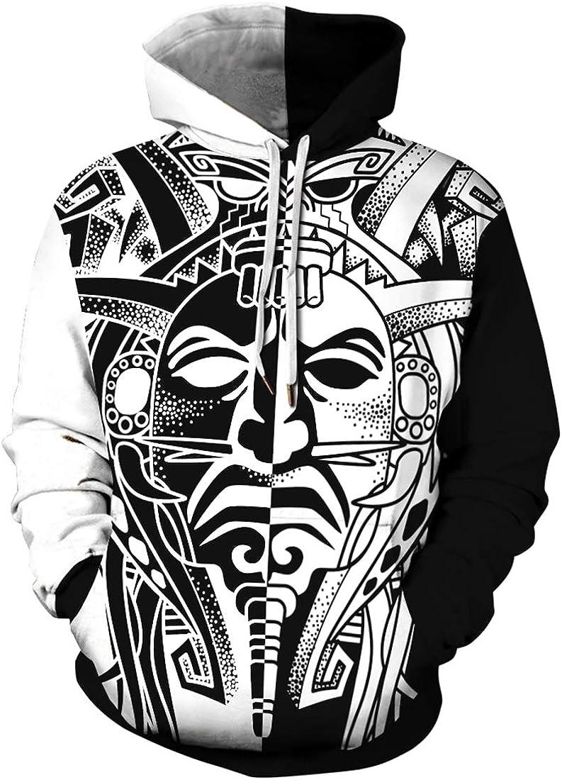 Chaos World Felpa da Uomo Indiano 3D Stampa Indiano da Nativo Americano a Manica Lunga Felpe Pullover Hoodie