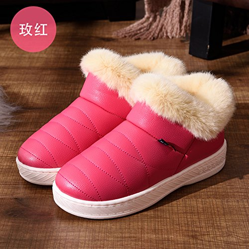 LaxBa Rose d'hiver Slipper antiglisse nbsp;Femmes Padded chauds Chaussons peluche Red Hommes intérieur Cotton Chaussures r1rwqBU