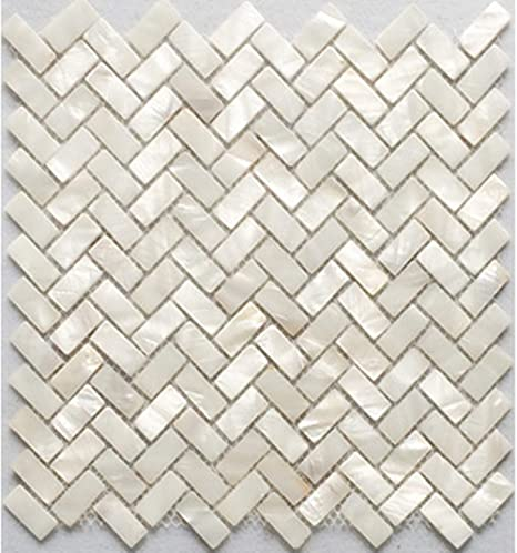 Buy Afsj Genuine White Herringbone Mother Of Pearl Mosaic Tile For Bathroom Kitchen Backsplash One Sheet Online At Low Prices In India Amazon In
