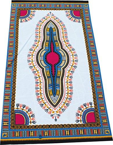 RaanPahMuang African Dashiki White Cotton Fabric for 1 Childrens Shirt Design, Azure Blue / White ()
