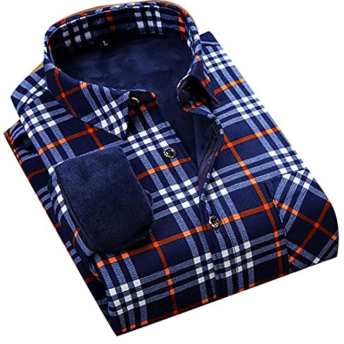 today-UK Mens Thicken Warm Plaid Long Sleeve Button Down Casual Shirts 7