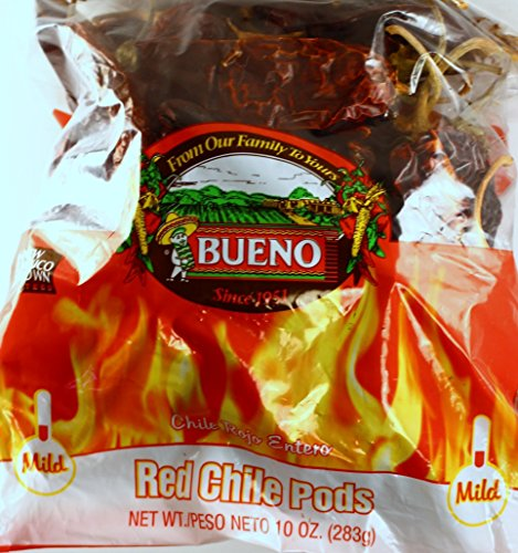 Bag Green Chili (Red Chili Chile Peppers from Hatch New Mexico, with FREE Red Chili Sauce Recipe, Bueno 10 Ounce Bag (Choose from MILD, HOT, or EXTRA HOT) (MILD))