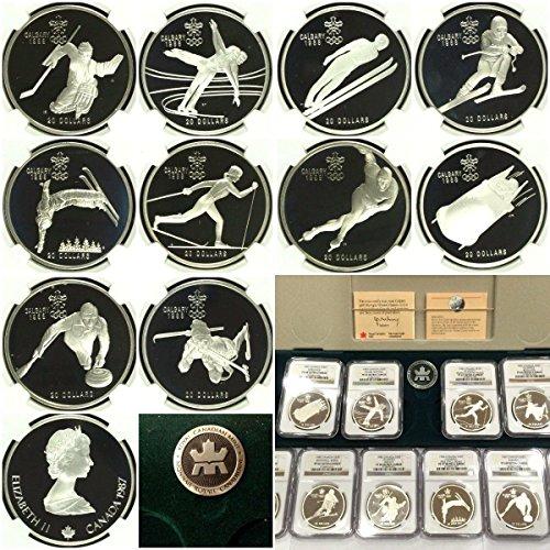 CA 1985 Canada 1985-1987 Set 10 Silver Coins Calgary Olym PF 66-68 Ultra Cameo