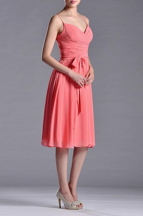 60a2a582644d Adorona Natrual Chiffon A-line Tea Length Bridesmaid Dresses, Color White  ,8: Amazon.co.uk: Clothing