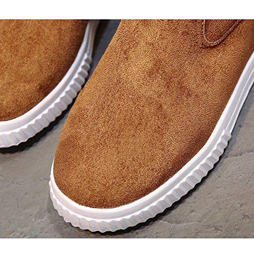 Btrada Hiver Femme Chaude Fourrure Épaisse Doublure Neige Bottes-plat Pliable Décontracté Bottine Chaussures Marron
