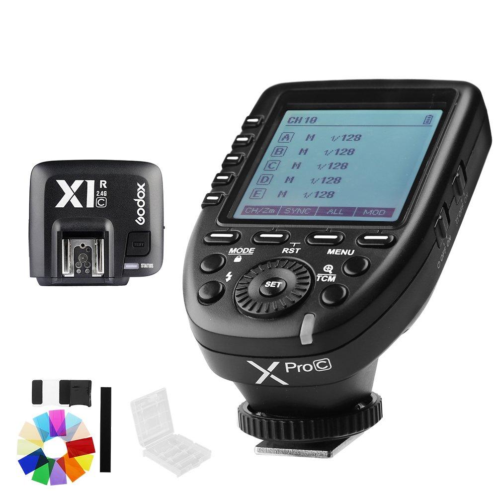 Godox Xpro-C E-TTL II 2.4G X System Wireless Control Remote Trigger with X1R-C Controller Receiver Compatble for Canon Flash