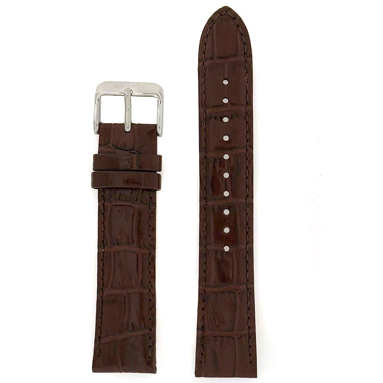 Seiko Genuine Textured Brown Leather Alligator Grain 20Mm Watch Band - Brown, 20Mm, Silver Tone, Regular