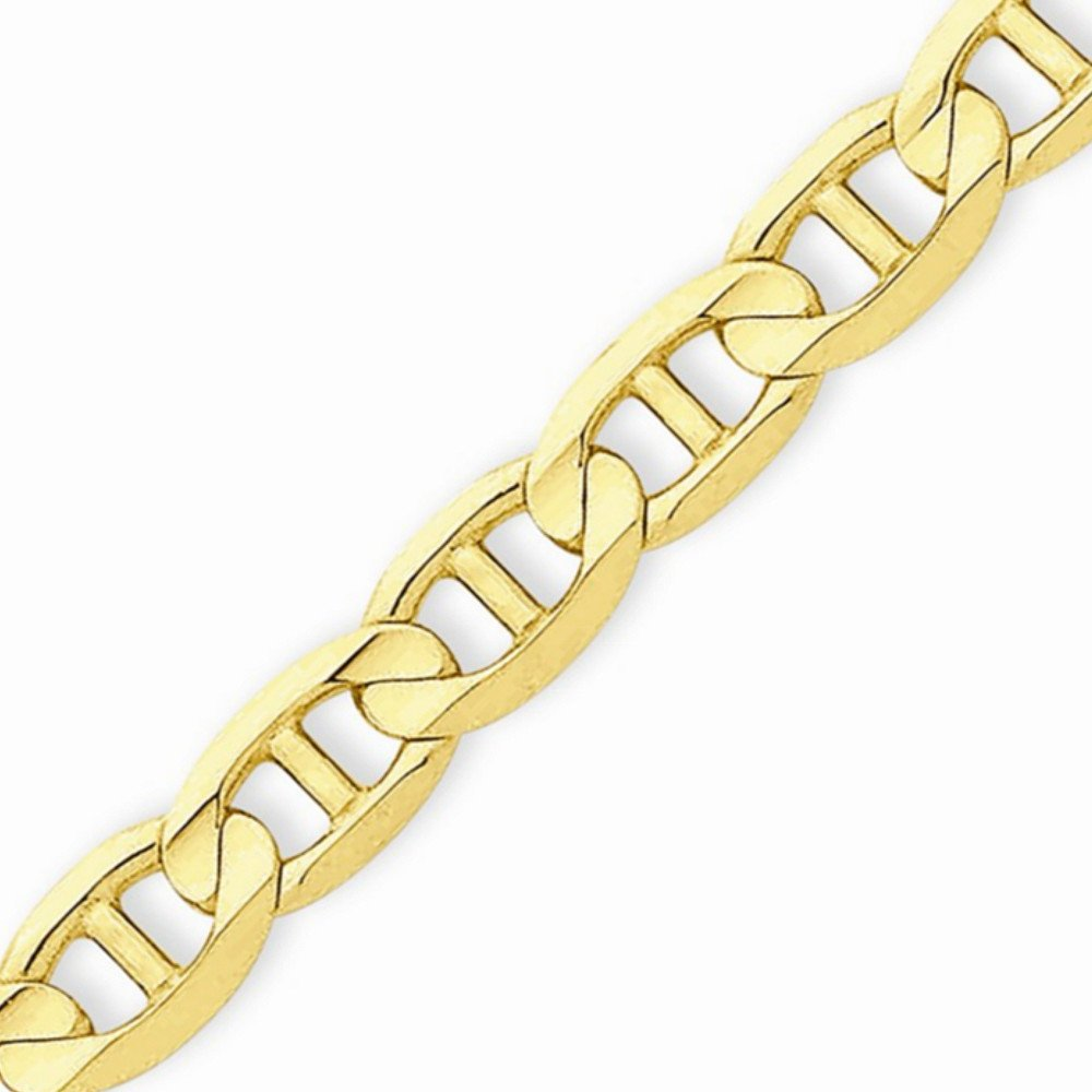 14k Gold Solid Mariner Chain Necklace with Lobster Clasp (6.9mm) - Yellow-Gold, 18 in