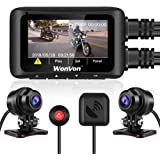 Motorbike Drive Recorder with 3 inch LCD Screen WonVon MT011 Motorcam WiFi,G-Sensor,Loop Recording,Support Motorcycle Front and Rear Dash Camera Whole Unit Waterproof,Wide Angle 160/°,Dual 1080P,GPS