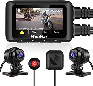 """WonVon MT1 Motorcycle Dash Cam 1080P 2.7"""" LCD Motorcycle Recording Camera Dual Lens Front and Rear Camera Built-in WiFi, with GPS Module, Night Vision, G-Sensor, Loop Recording, Support 256GB max"""