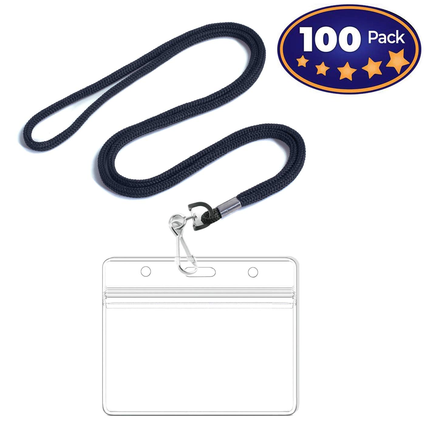 Premium Horizontal ID Tag Nametag Name Badge Holders with Woven Lanyard (Satin Black 100 Pack) - Plastic Name Badge Holders with Lanyard - Business Events Favors-by IRISING by LION KNIGHT (Image #1)