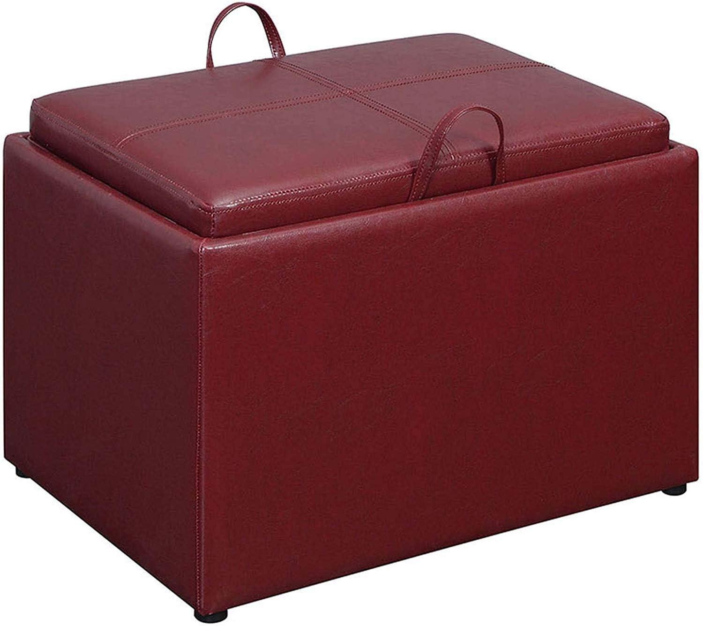 Convenience Concepts Designs4Comfort Accent Storage Ottoman, Burgundy Faux Leather