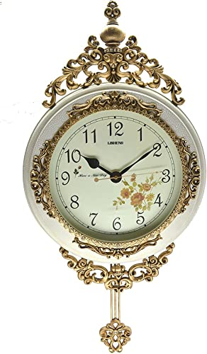 IMPORTED GIFT DEPOT Antique Linseng Wooden Pendulum Ivory Wall Clock