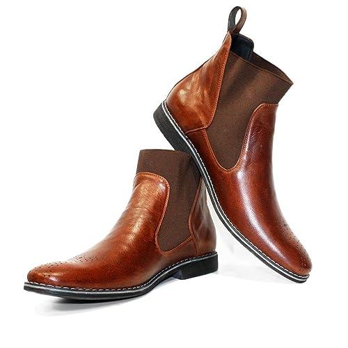 ea6ec14294 Modello Sliko - Cuero Italiano Hecho A Mano Hombre Piel Color Marrón  Chelsea Botas Botines - Cuero Cuero Suave - Ponerse  Amazon.es  Zapatos y  complementos