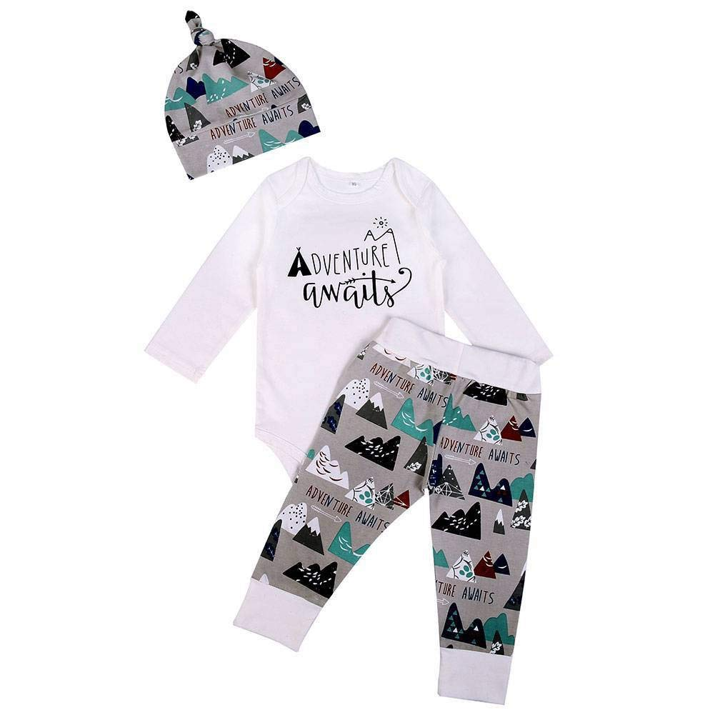 BOBORA Newborn Baby 3PCs Clothing Set Long Sleeve Letter Prints Romper + Deer Trouser + Hat BON-N-1810