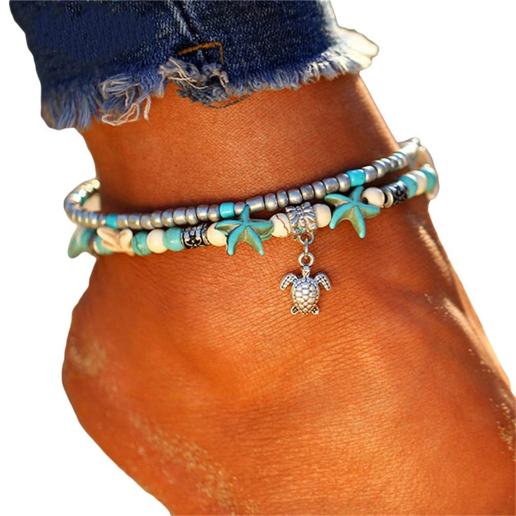 Myhouse Multi-Layered Starfish Pearl Crystal Beads Foot Chain Sandal Beach Barefoot Anklet for Women Girls, Starfish Turtle