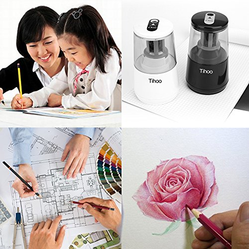 Tihoo Electric Pencil Sharpener with Safety Device, Fast Sharpen and Auto Stop for Regular and Colored Pencils, USB or AC or AA Battery Operated for Office, School, Home (Black) by Tihoo (Image #6)