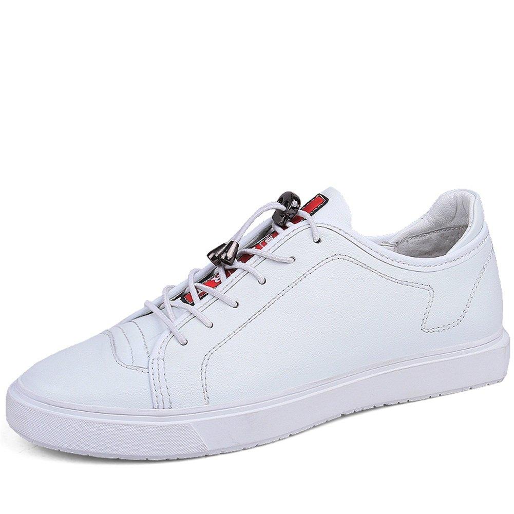 HUAN Nuevos Zapatos Casuales Para Hombres Zapatos con Cordones de Cuero Confort Zapatos de Conducción Respirables Zapatillas de Deporte Trabajo Formal Blanco, Negro 40 EU|Blanco