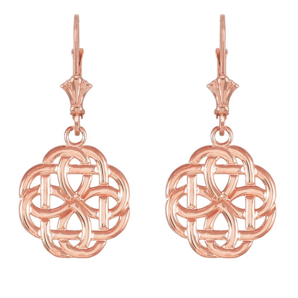 14k Rose Gold Triquetra Celtic Trinity Dangle Earrings