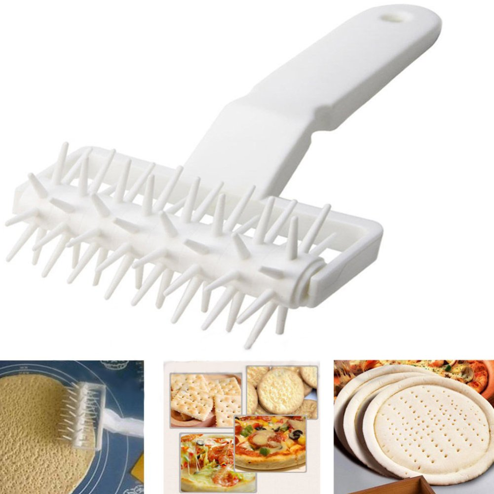 Plastic Dough Lattice Cutter/Embossing Dough Docker Puncher,Needle Roller Wheel Hole Punch/Hobbing DIY Baking Tool for Pie Pizza Cookie Noodle Craft Pastry (14cmX12cmX6.5cm) GFULLOV