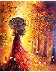Paint by Numbers-DIY Digital Canvas Oil Painting Adults Kids Paint by Number Kits Home Decorations-Red Dress Girl 16 * 20 inch