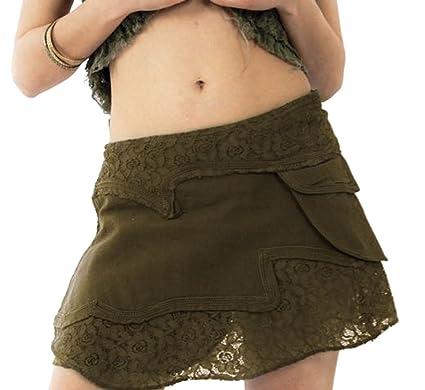 Gekko - Falda - envolvente - para mujer multicolor marrón Talla ...