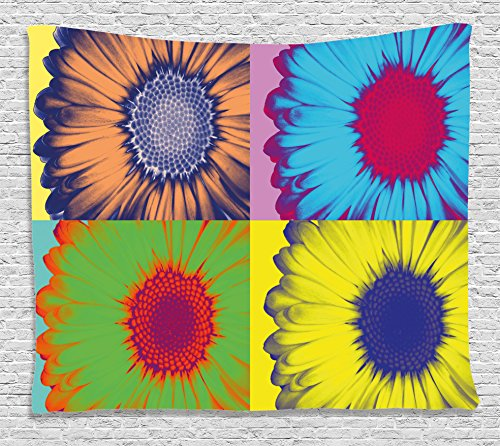 Ambesonne Modern Art Home Decor Tapestry, Pop Art Inspired Colorful Kitschy Daisy Flower Hard-Edged Western Design, Wall Hanging for Bedroom Living Room Dorm, 80 W X 60 L Inches, Multi
