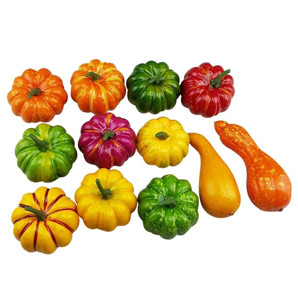 RALMALL Halloween Artificial Pumpkin Decorations,12 Pcs Assorted Fake Pumpkins Fake Vegetables Ornaments for Halloween Autumn Thanksgiving Garden Home and Harvest Decoration