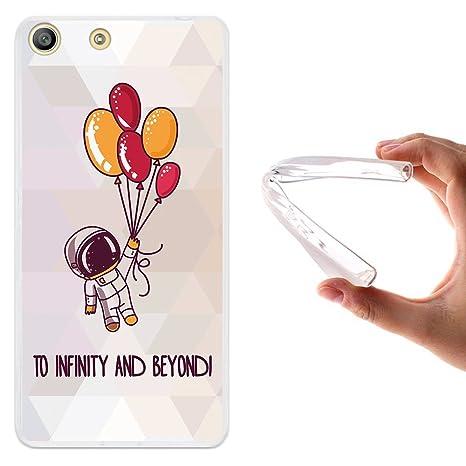 WoowCase Funda Sony Xperia M5, [Sony Xperia M5 ] Funda Silicona Gel Flexible Astronauta Espacial, Carcasa Case TPU Silicona - Transparente
