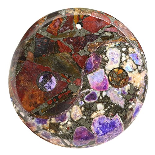 Multi-color Sea Sediment Jasper Gemstone Gossip Pendant Beads Purple & Picasso ()