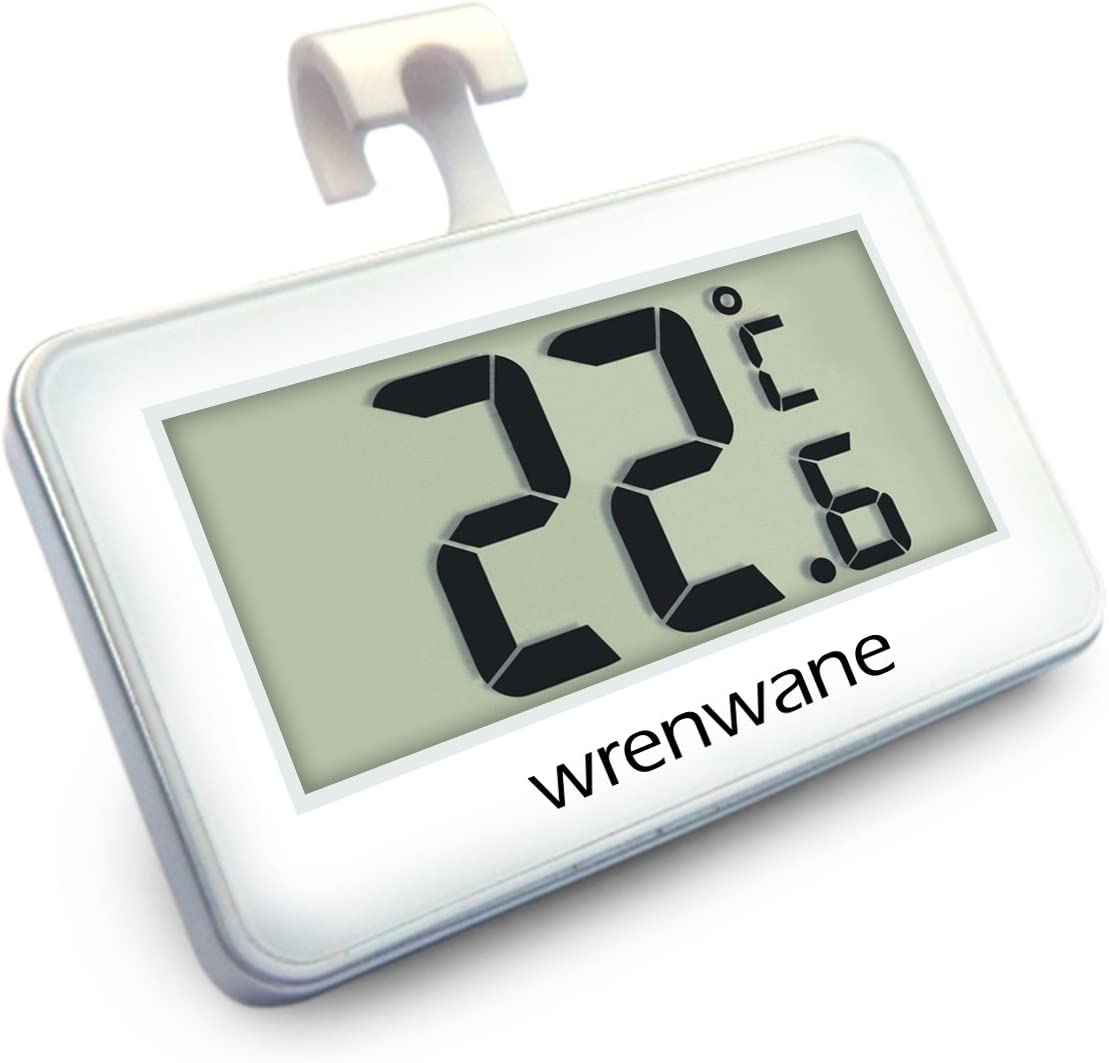 Wrenwane Digital Refrigerator Freezer Room Thermometer, No Frills Simple Operation, White