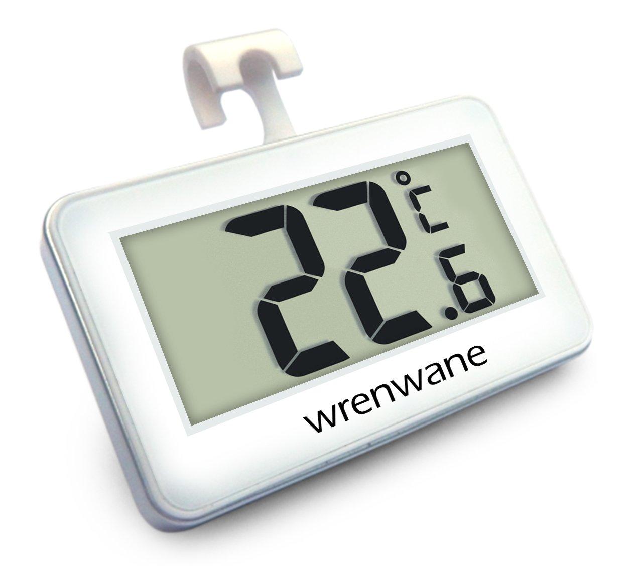 Wrenwane Digital Refrigerator Freezer Room Thermometer, No Frills Simple Operation, White