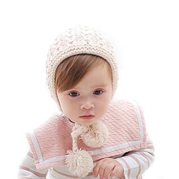 0b20e7da3cd6 Vandot Bébé Bonnet avec Boule de Fourrure Cute Cap Mignon Automne Hiver Hat  Doux Confortable Laine