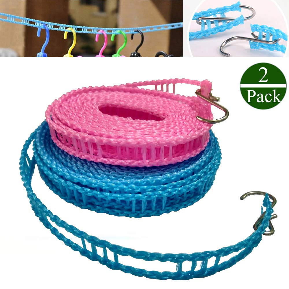 2 PACK Nylon Clothesline Windproof Clothes Drying Rope Travel Clothes Line Portable Laundry Line Hanger Rope For Indoor Outdoor Camping Home Hotel Random Color (Pack of 2 Clothesline(3m & 5m)) Too Goods